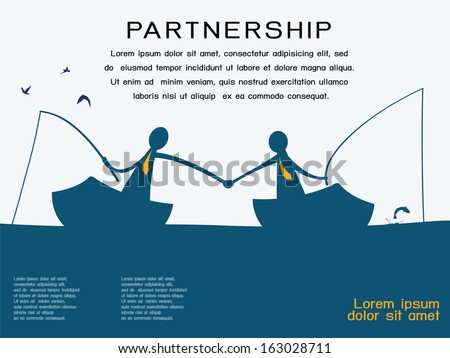 Business man on going fishing on the boat and shaking hands to each other in partnership and corporation concept. Abstract background with copy space and text for your own design.  - stock vector