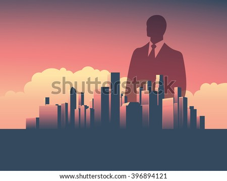 Business man over business corporate cityscape vector illustration. Double exposure style. Eps10 vector illustration. - stock vector