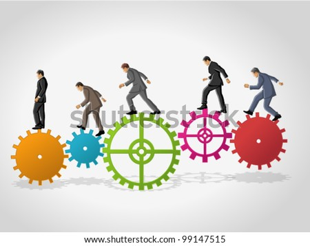Business man over colorful machine gear wheel. Cogwheel. - stock vector