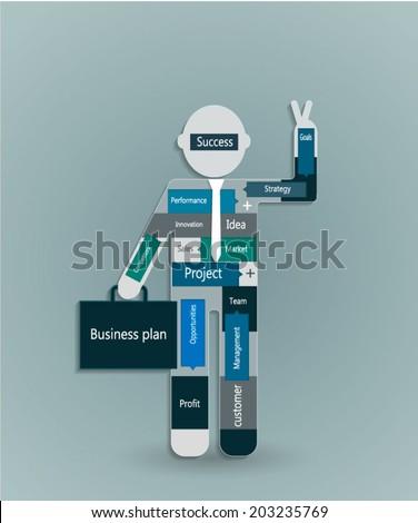 Business man planning business plan concept - stock vector