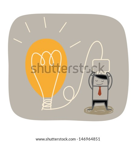 business man plug idea bulb - stock vector