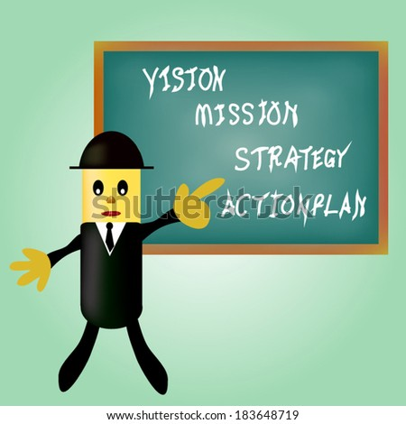 business man pointing business concept vision - mission - strategy - action plan.  - stock vector