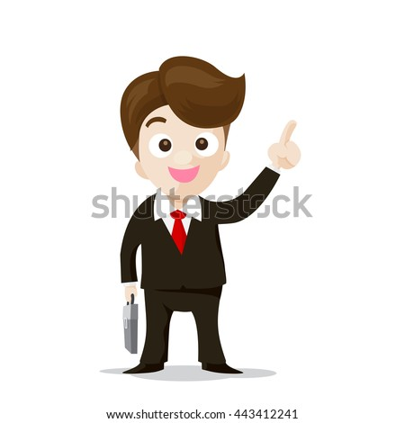 Business man pointing the finger isolated on the white background