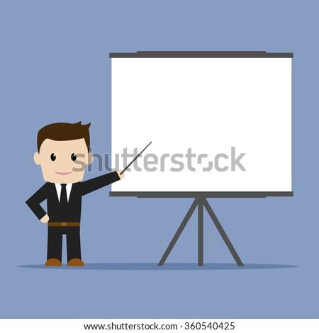Business man presentation, flat design, vector illustration. - stock vector