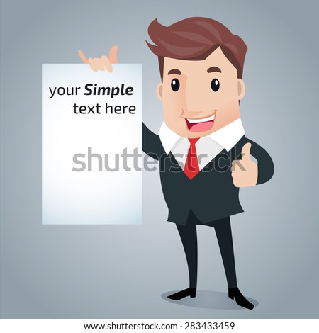 Business Man presentation,holding whiteboard.  - stock vector