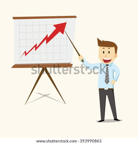 Business man presentations about stock - illustration vector