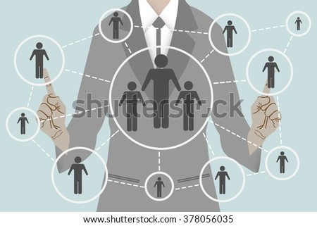 Business man presses button web communication interface touch, vector - stock vector