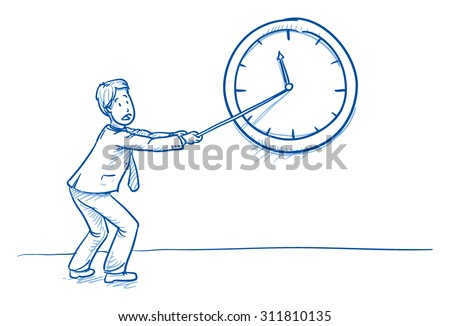 Business man pulling clock hand, concept for stress, too much work, lack of time, hand drawn doodle vector illustration - stock vector