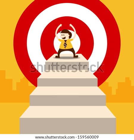 Business man reaching the target - stock vector