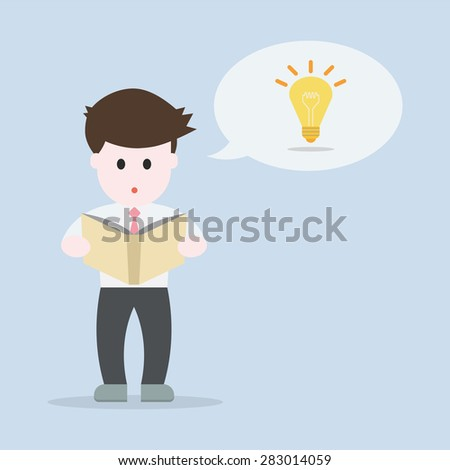Business man reading a book and thinking an idea concept , EPS10 vector illustration - stock vector
