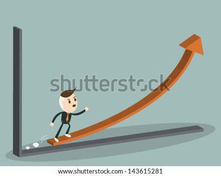 Business man run on graph upwards , business concept, vector format - stock vector
