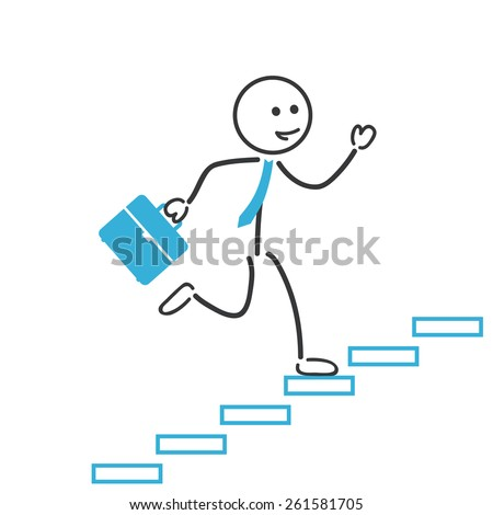 business man run up stairs - stock vector