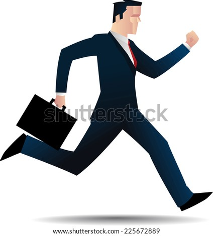 business man running. - stock vector