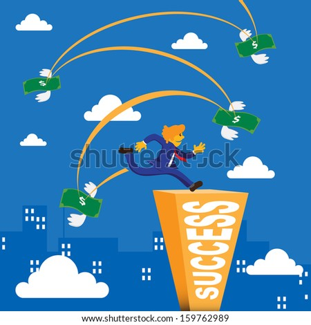 Business man running and jump over bank note to success bar - stock vector
