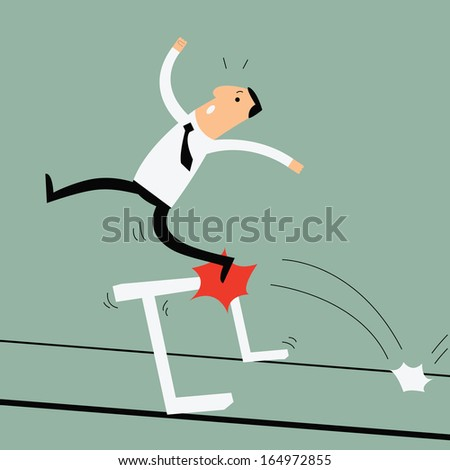 Business man running and jumping over the hurdle but failed to cross over it. Business concept in failure or unable to overcome obstacle or problem.  - stock vector