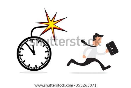 Business man running from office clock bomb, deadline concept. Vector illustration - stock vector