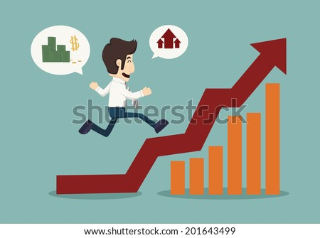 Business man running top of  graph  , eps10 vector format - stock vector