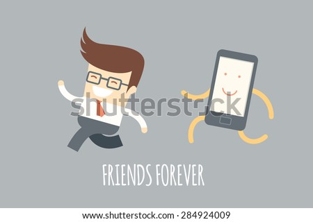business man running with a mobile phone, mobile addiction concept - stock vector