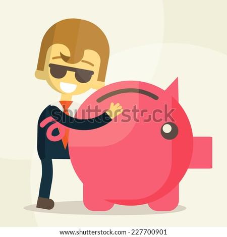 Business man  save money  , eps10 vector format - stock vector