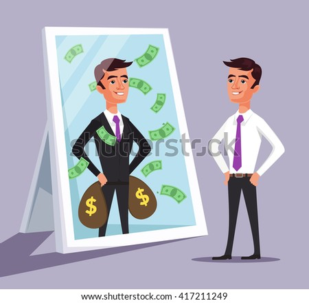 Business man see himself being successful. Vector flat cartoon illustration - stock vector