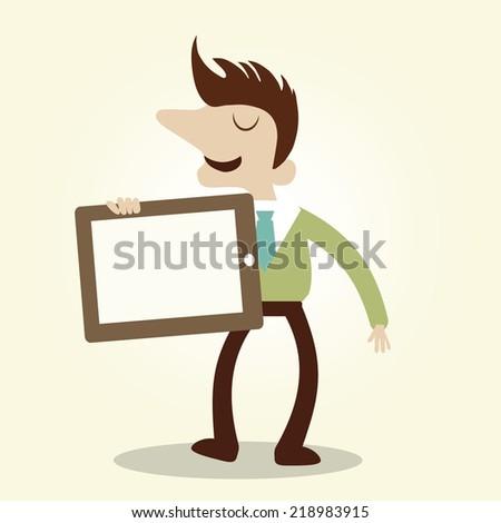 Business man show digital tablet. Vintage cartoon business vector design. - stock vector