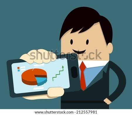 Business Man Show Smart Phone ,graph,arrow - stock vector