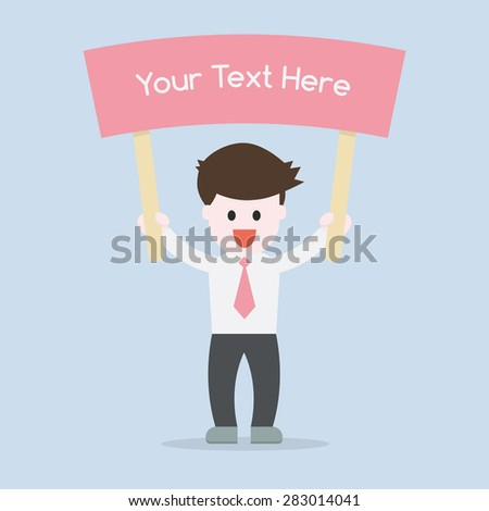 Business man showing a sign board for write a word idea concept , EPS10 vector illustration - stock vector