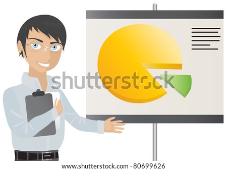 Business man shows flip chart with graphic - stock vector