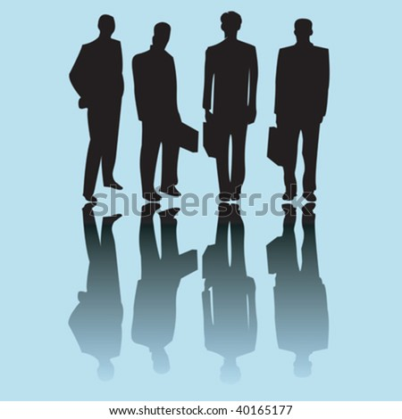Business man silhouettes on blue background