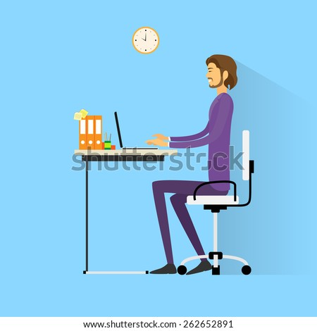 business man sitting at desk in office working laptop computer vector illustration - stock vector
