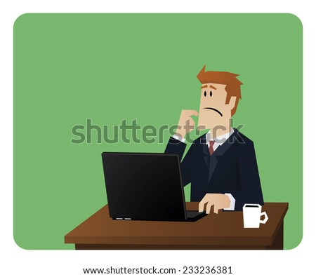 Business man sitting behind his notebook and thinking - stock vector