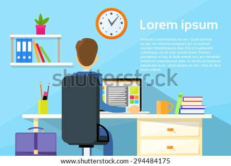Business Man Sitting Desk Office Working Place Laptop Back Rear View Flat Vector Illustration - stock vector