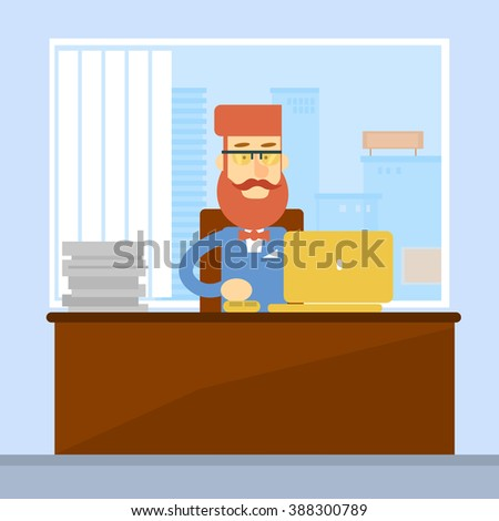 Business Man Sitting Desk Office Working Place Laptop Flat Vector Illustration - stock vector