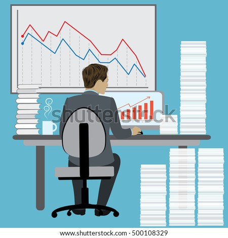 Business Man Sitting Desk ,Office Working Place Laptop ,hard work, Back Rear View, cartoon  Flat Vector Illustration