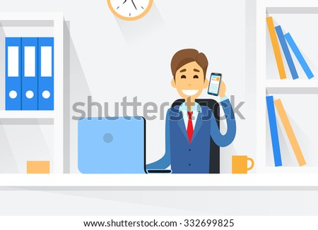 Business Man Sitting Desk Working Laptop Computer Vector Illustration - stock vector