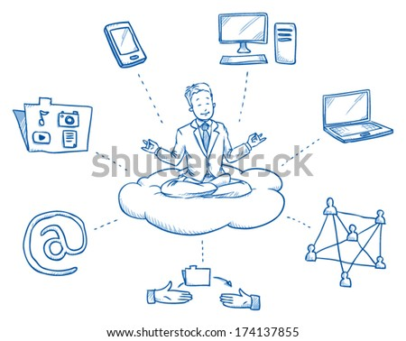 Business man sitting on cloud smiling, meditating and relaxing in meditation seat surrounded by cloud computing icons,Â?Â? hand drawn vector illustration - stock vector