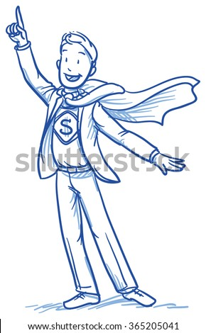 Business man smiling happy in super hero outfit. Hand drawn vector cartoon doodle illustration - stock vector