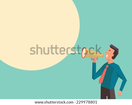 Business man speaking through megaphone with speech bubble for your text or your design. Flat design with cubic style for character of woman.  - stock vector