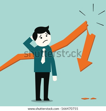 Business man standing and looking in despair at broken down statistic arrow. Business concept in bankruptcy or going down economy.    - stock vector