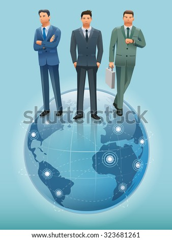 Business man standing on the world.Business Communications.International Investment.Illustration for idea of business.Approach to communication for business. Graphic design and vector EPS 10. - stock vector