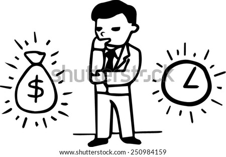 Business man standing reflectively making choice between money and time, alternative between bag of money and clocks - stock vector