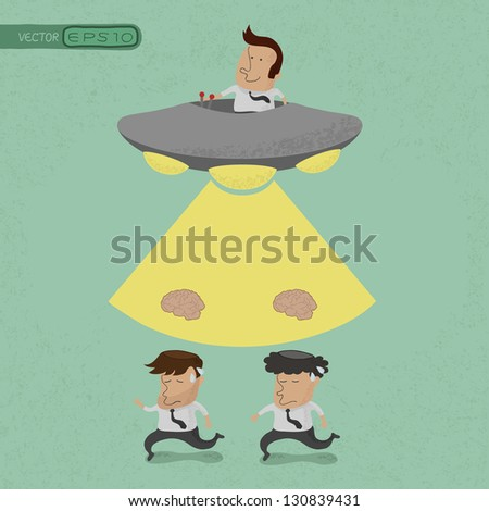 Business man stealing brain, eps10 vector format - stock vector