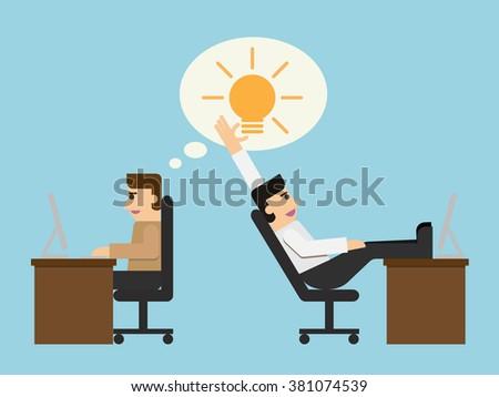 Business man stealing idea, Simple cartoon EPS10 vector illustration in flat design. - stock vector
