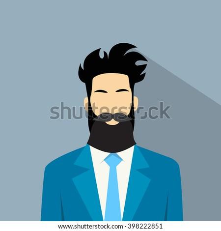 Business Man Suit Beard Portrait Flat Vector Illustration - stock vector