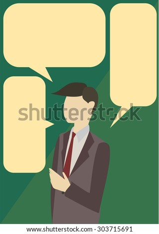 Business man talk with 3 blank call out - stock vector