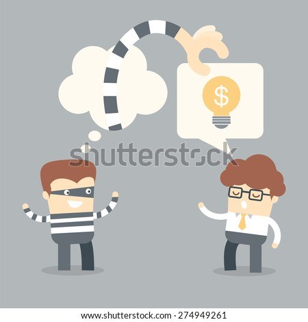 business man talking idea to thief, intellectual criminal concept - stock vector