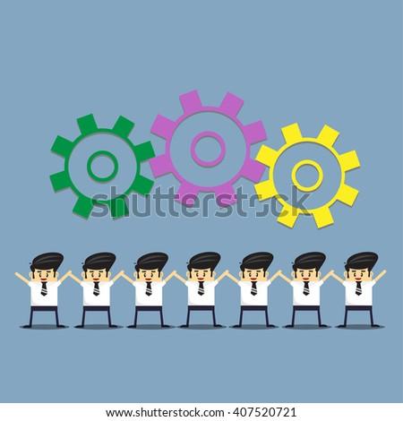 Business man team work. success concept. - stock vector
