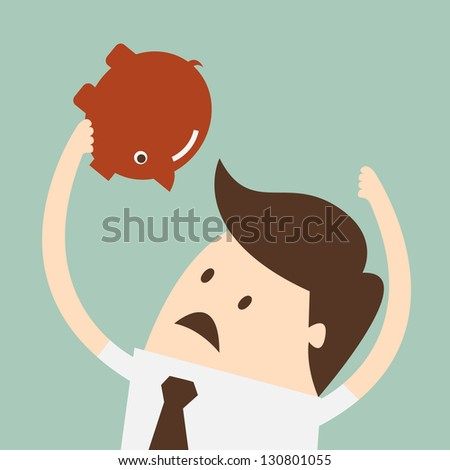 business man thinking how to open piggy bank - stock vector