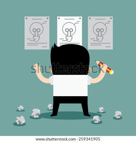 Business Man tries to Craft the Great Idea - stock vector