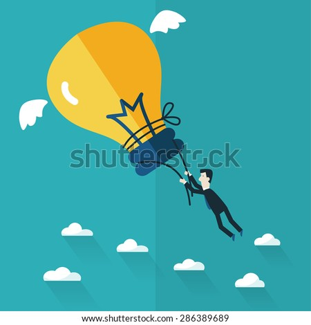 Business man try to catch flying idea. Idea concept flat design - stock vector